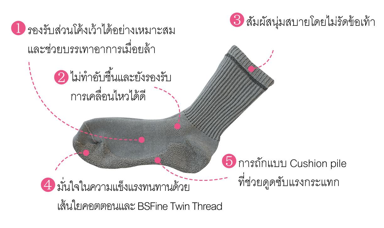 คุณสมบัติของถุงเท้า BSFINE แบบหนา